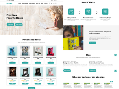 Personalized  Book & Merchandise Landing page
