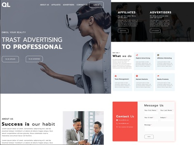 Digital advertise landing page homepage website ux landingpage design web typography branding ui design