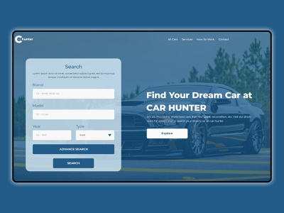 Car Hunt website homepage web ux landingpage branding typography ui design