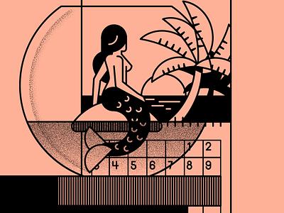 Mermaid sunset tropical calendar fishbowl summer mermaid illustration