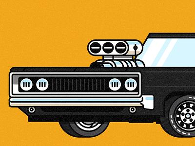 '70 Charger illustration transportation tires motor engine vehicle automobile car dodge 1970 charger