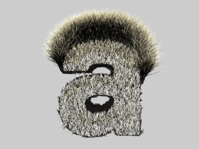 Hairy Letter A type hair 3d cinema4d lettering typography