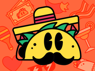 Taco Time Stickers pepper jalepeno margarita bacon burrito food stickers taco time tacos