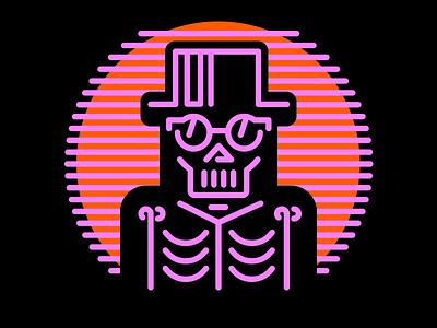 Stay Cool halloween futuristic retro sunglasses top hat classy neon vintage bones skeleton