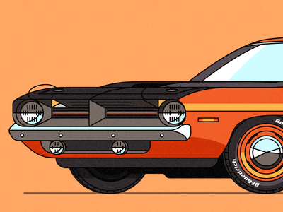 1970 Cuda orange wheels vector transportation muscle car illustration dribbble car automobile 1970 cuda cuda plymouth barracuda