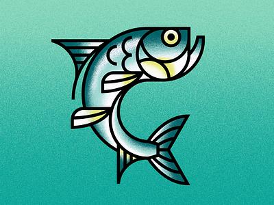 Silver King animals ocean tarpon fishing fish vector illustration