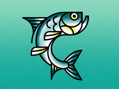Silver King animals ocean tarpon fishing fish vector illustration