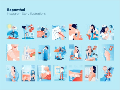 Bepanthol Instagram Story Illustrations instagram stories orange blue happy shower bike skincare rain health woman animation design vector illustration