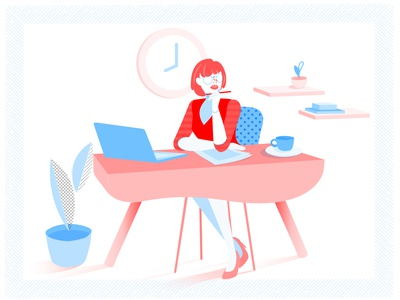 Office Girl think bussiness work illustration design vector patterns monochrome blue red office