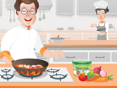 Unilever Food Solutions Webshop Animation Movie character animation animation motion illustration 2d vector kithchen chef cook vegetable