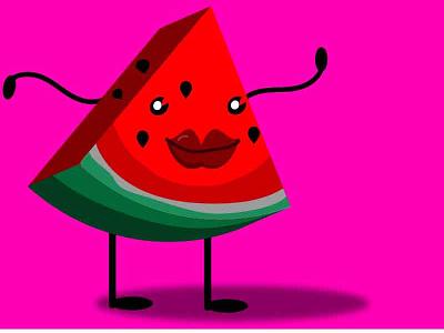 Waltermellony fruta melancia fruit ai character flat character flatdesign illustrator cc