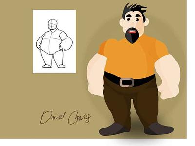 hong strongman illustration design 2d character 2d flat illustrator vector