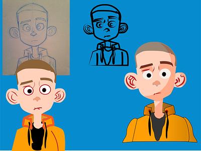 Boy illustration 2d character 2d flat illustrator vector