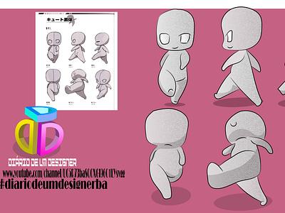 treino movimento ( moves training) deform character 2dart 2d character design flat illustrator vector