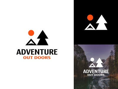 Adventure Out Doors negative space logo mountain logo forest outdoors adventure branding identity branding and identity branding brand minimalist logo minimalist logos logo mark logo design