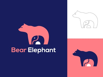Bear + Elephant logo design graphic  design elephants elephant logo animals typography logo logos logo design logotype logo designer custom logo business minimalist logo modern logo illustration icon branding brand identity bear illustration bear logo