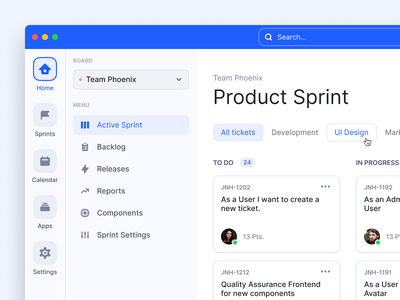 Kanban Board / Project management tool product design design sidebar menu sidebar board kanban board apps calendar sprint tool management project management tool project management kanban ticket dashboard user interface ui ux