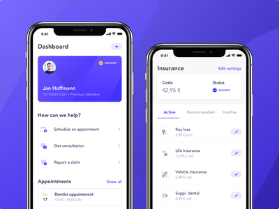 Insurance App - Concept card activity feed app user interface finance dashboard ui insurance ux