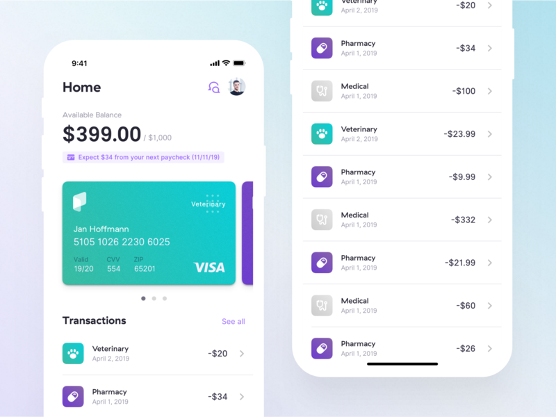 Healthcare Payment Mobile App mobile ios healthcare paytient insurance ui ux banking card credit credit card transactions dashboard insurtech fintech app finance payment user interface