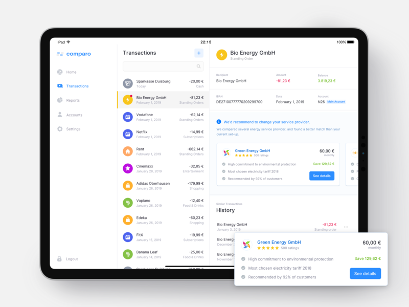 iPad Banking App – Price comparison user interface ui transactions tablet recommendation price ipad insurtech history fintech finance expenses dashboard check butler banking assistant app feed activity