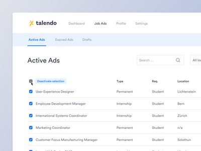 Table data view check checkmark bulk action ads jobs job board finance light dashboard user interface fintech ux ui view data table