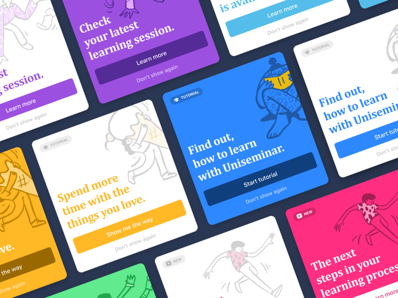 Card designs for notifications and hints hint button notification tutorial cards design cards card illustration product product design design dashboard app user interface ux ui