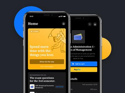 Darkmode App illustration ios13 product design fintech finance button card dark theme dark mode home app user interface ux ui