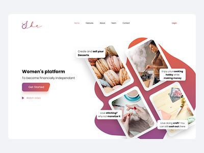 Women marketplace design ui concept money website ux ui sellers work online startup ecommerce landing shopping cart sell shop marketplace