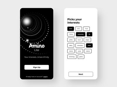 Amino lite - in progress design mobile app people socialmedia social app design app interaction community better lite clean redesign amino