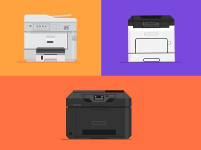 Printers colors simple design illustration printers