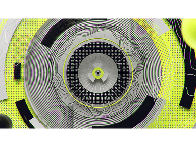 Aim topographic neon circles abstract 3d