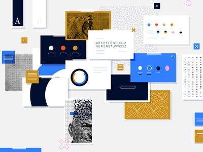 Branding shapes simple process design branding illustrator