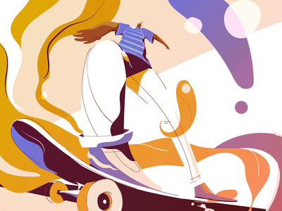 Flow animation 2d motiongraphics skateboard illustrator perspective illustration