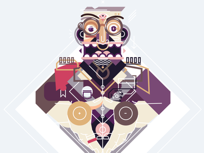 Bossy simple geometric design nose ring portrait shapes geometric illustrator illustration