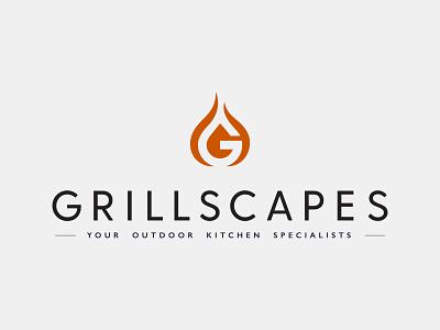 Grillscapes - Branding black orange branding fire vector logo design graphic design