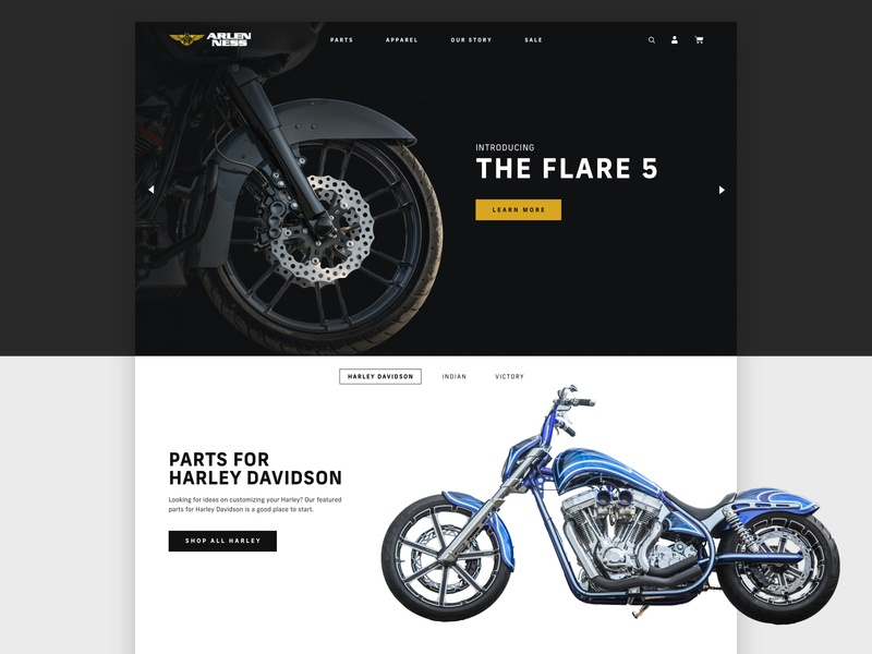 Arlen Ness harley davidson parts shopify plus motorcycle ui website shopify ecommerce web design