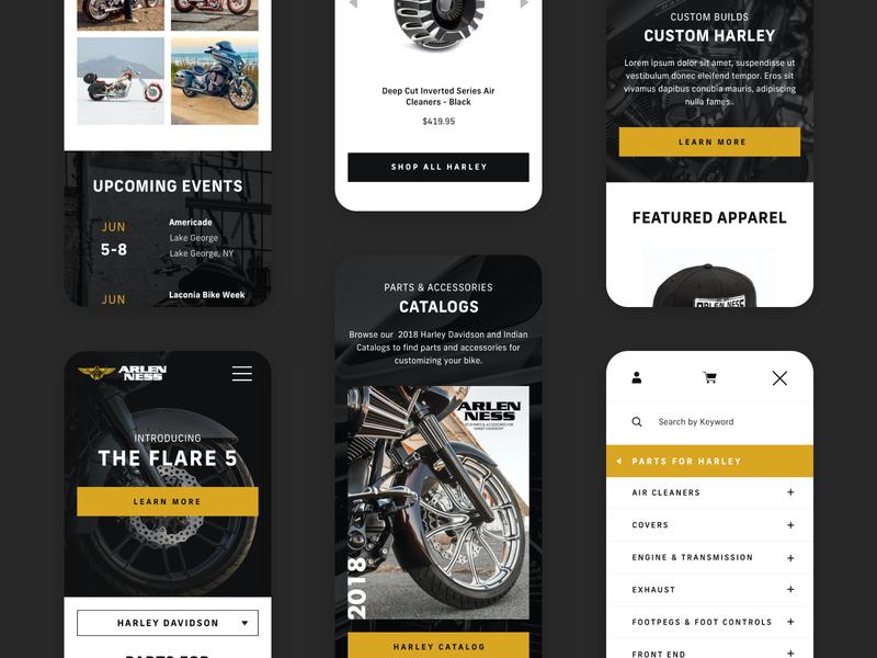 Arlen Ness - Mobile harley davidson arlen ness motorcyle ui mobile responsive website shopify ecommerce design web design