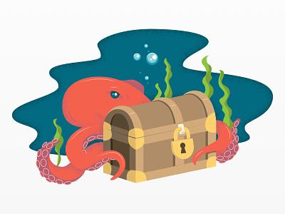 Supply Shift - Error Illustrations supply chain ocean sea vector octopus nautical pirate design illustration