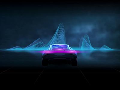 Coming Soon moon animation video vector vaporwave soundwave retro pink illustration horizon futuristic drive cars blue black