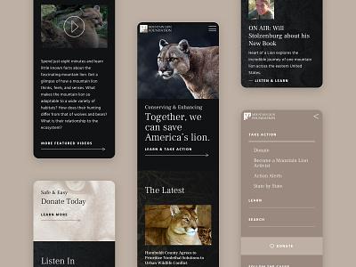 Mountain Lion Foundation - Mobile mountain lion activism wordpress mobile responsive website design web design graphic design
