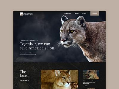 Mountain Lion Foundation nonprofit activism protection mountain lion wordpress design web design graphic design