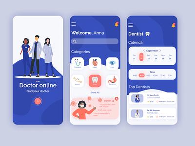 Doctor Online | Mobile App figma app uxui design mobile online doctor mobile app mobile ui mobile design clinic dentist medical medicine doctor