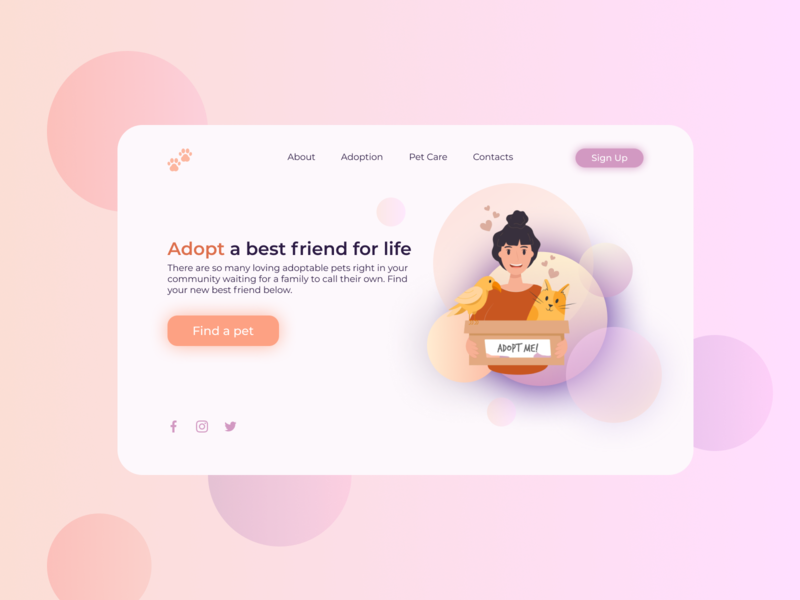 Pet Adoption Service animals animal catdog website design figmadesign site uidesign first page webdesign website concept service adoption pet figma ui design