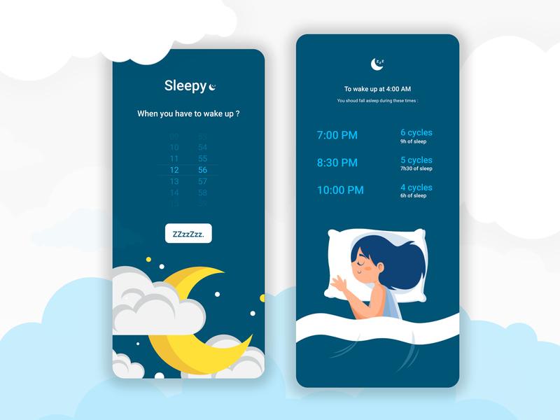 🌙 Sleepy - Sleep cycle app adobe illustrator white application nexon blue adobexd sleep sleepy ui design design illustration mobile ui minimal app design