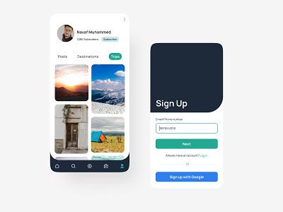Travel App UI | Navaf Muhammed loginpage grid layout newsfeed profilepage mobile ui figmadesign uiinspiration travel app uiux appdesign uidesign figma