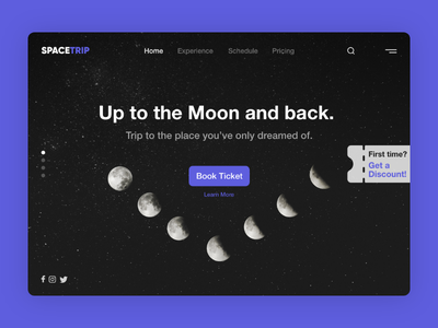 SpaceTrip | Tickets to the Moon xd design xd ui  ux trip to the moon ticket booking ticket booking app ticket app ticket space moonlight moon homepagedesign homepage design booking