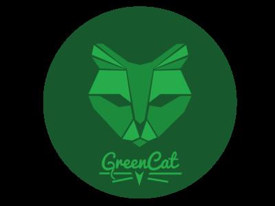 Greencat logo green cat illustrator logo