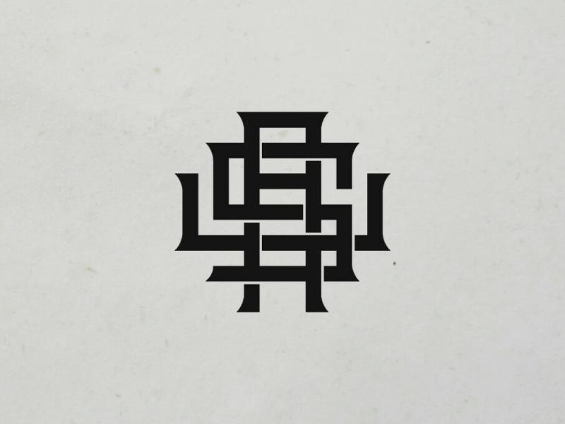 Monogram concept logotype calligraphy design clothing brand logo lettering monogram