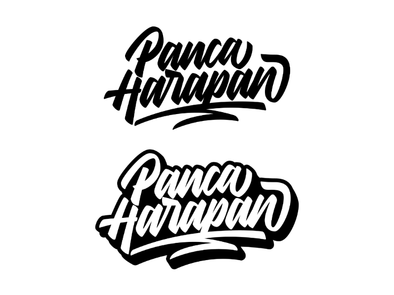Panca harapan lettering concept logotype logogram merchandise apparel calligraphy typography logo brand monogram lettering
