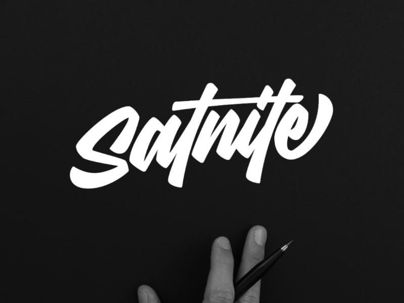 Satnite lettering font freelance apparel brand tshirt design logotype script logo lettering